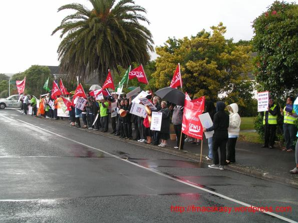 1 march 2012 - striking rest home workers - SFWU - Nurses Organisation - Upper Hutt - Elderslea