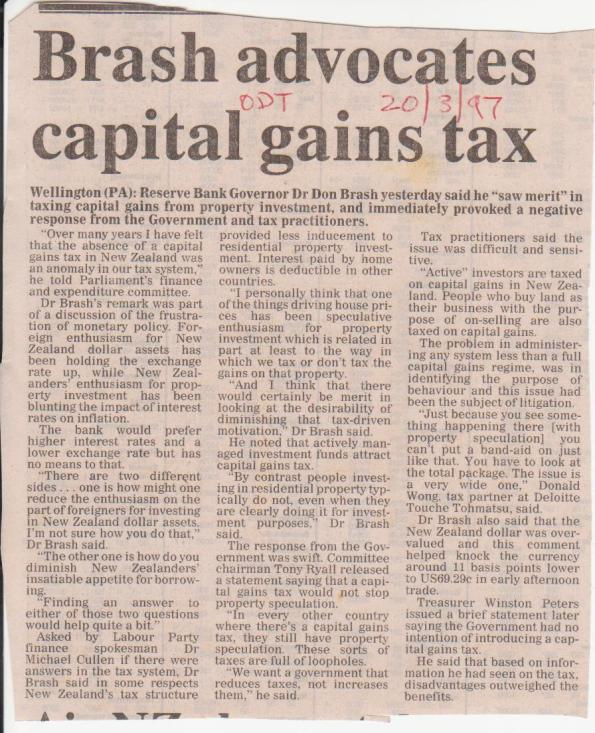 Brash advocates capital gains tax - 20 March 1997
