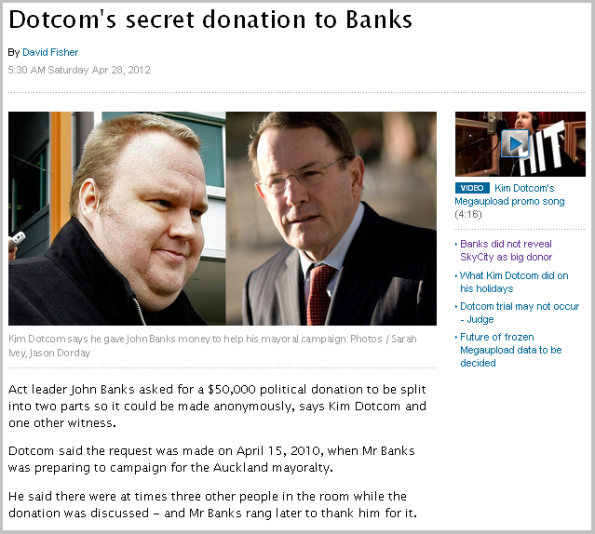 Dotcom's secret donation to Banks