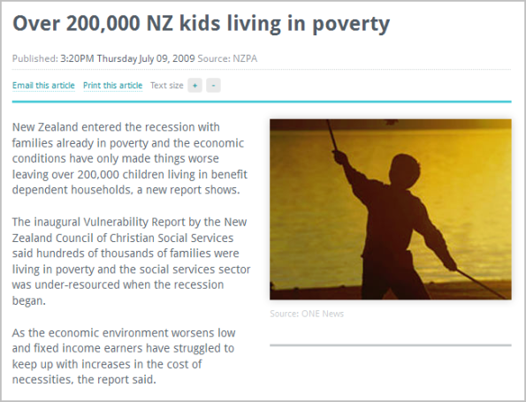 Over 200,000 NZ kids living in poverty