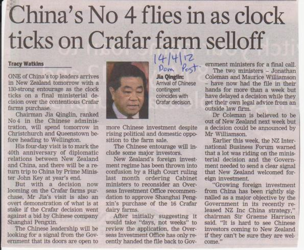China's No4 flies in as clock ticks on Crafar farm selloff  - Dominion Post - 14 April 2012