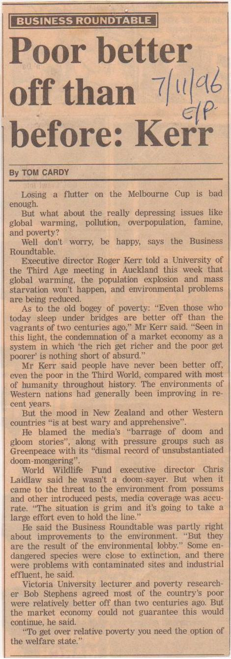 Poor better off than before, Kerr - Evening Post, 7 November 1996