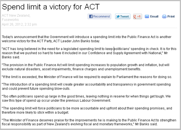 spend limit a victory for ACT