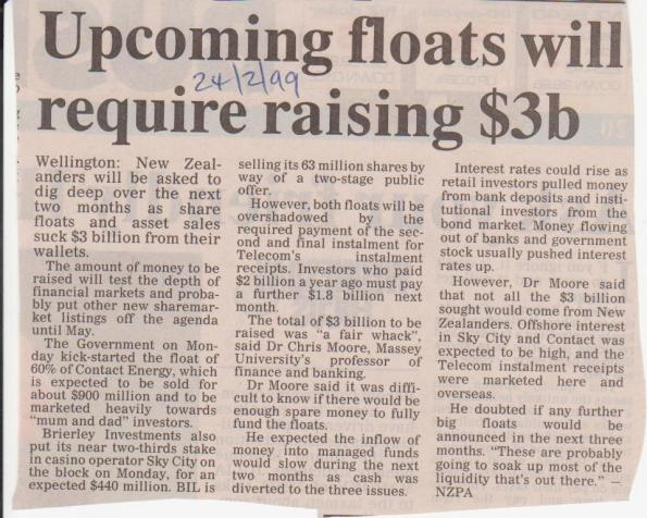 Upcoming floats will require raising $3b - 24 Feb 1999