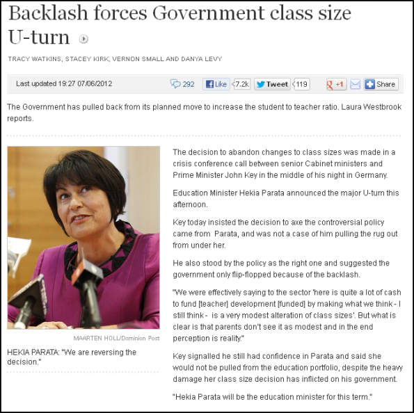 Backlash forces Government class size U-turn