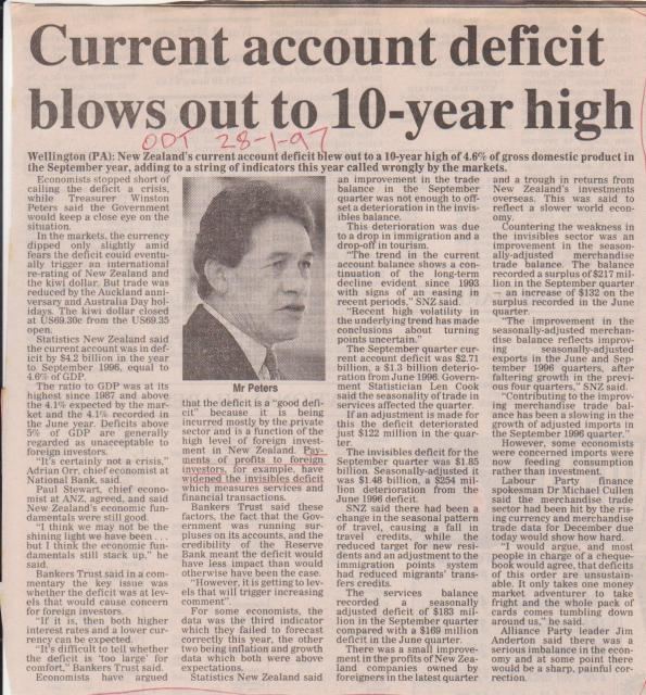 Current Account deficit blows out to 10-year high - 28 Jan 1997