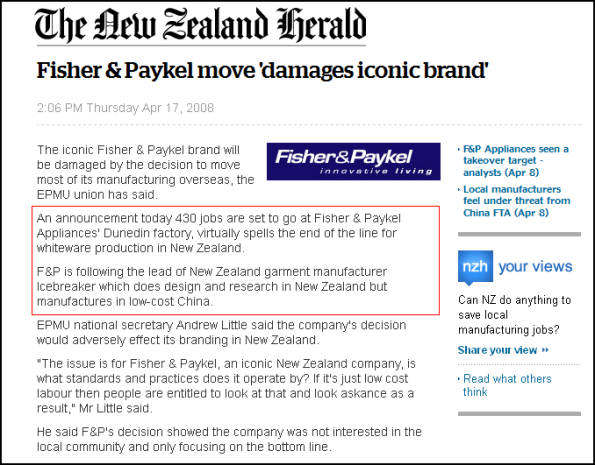 Fisher & Paykel move 'damages iconic brand'