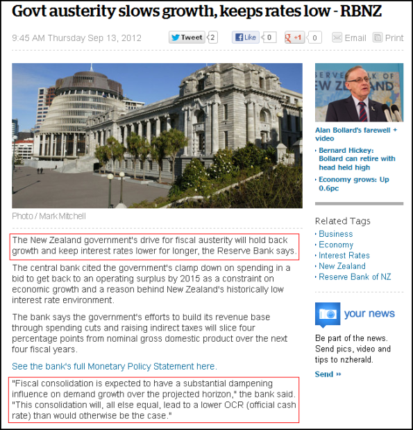 Govt austerity slows growth, keeps rates low - RBNZ