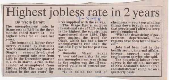 Highest jobless rate in 2 years - 7 May 1998