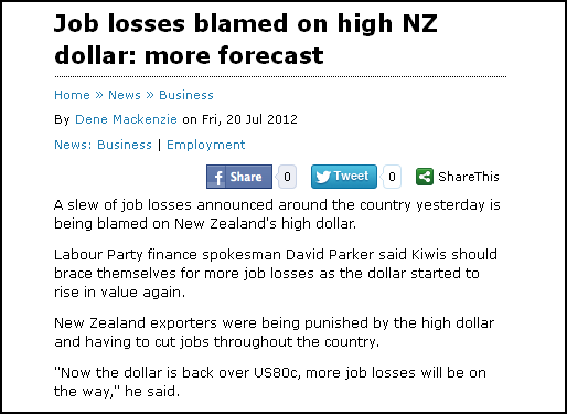 Job losses blamed on high NZ dollar - more forecast