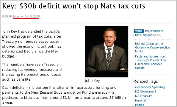 Key - $30b deficit won't stop Nats tax cuts