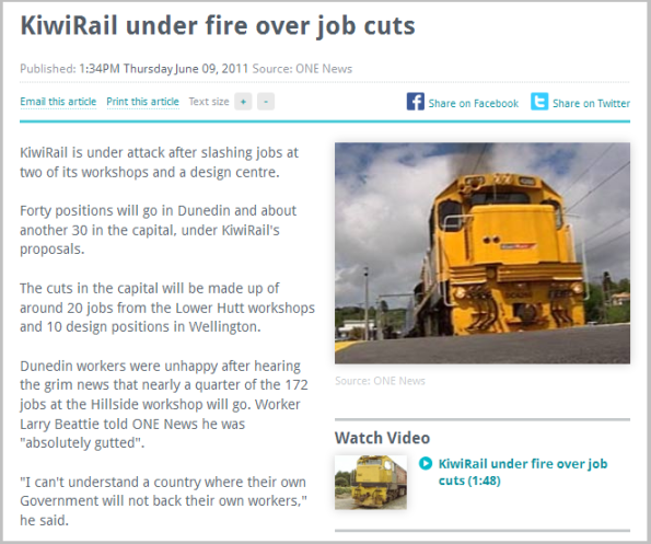 KiwiRail under fire over job cuts