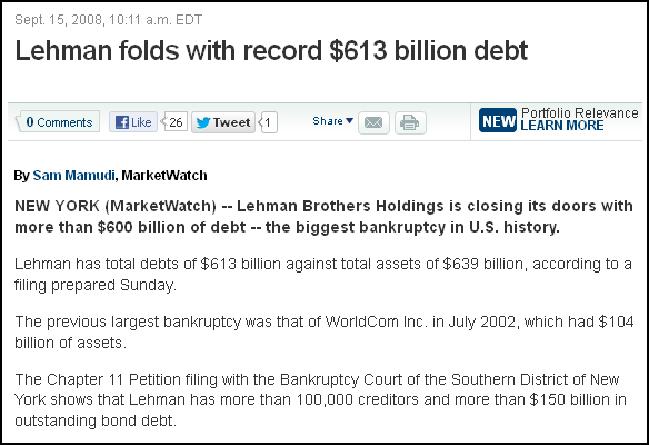 Lehman folds with record $613 billion debt