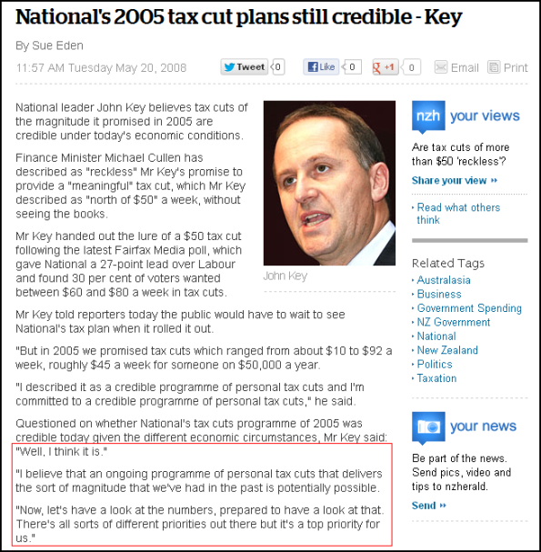 National's 2005 tax cut plans still credible - Key