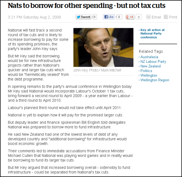 Nats to borrow for other spending - but not tax cuts