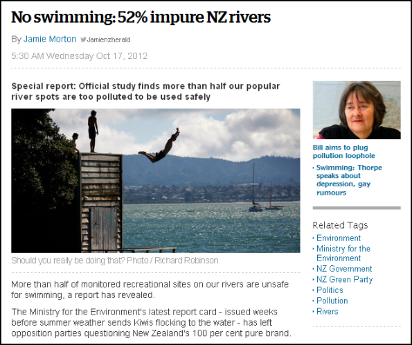 No swimming - 52% impure NZ rivers