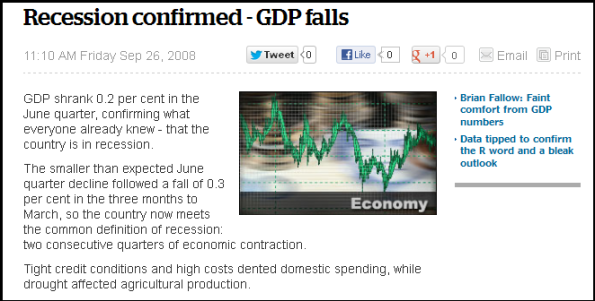 Recession confirmed - GDP fall