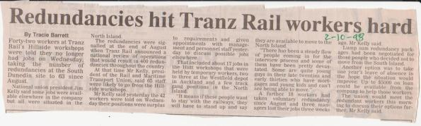 Redundancies hit Tranz Rail workers hard - 2 Oct 1998