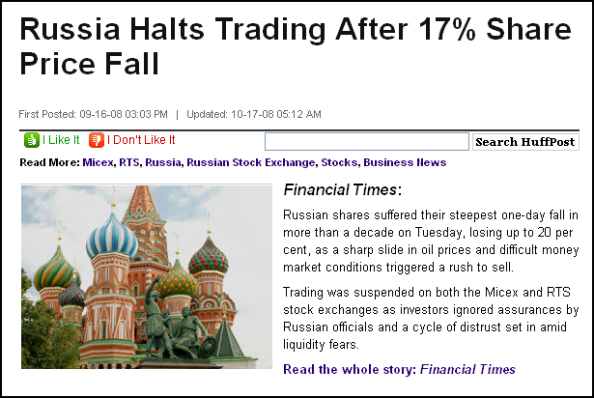 Russia Halts Trading After 17% Share Price Fall