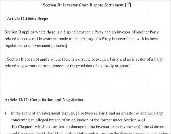 section B - investor-state dispute settlement
