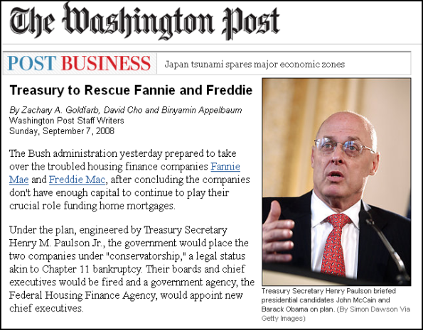Treasury to Rescue Fannie and Freddie