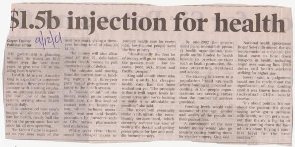 $1.5b injection for health - 9 December 2001