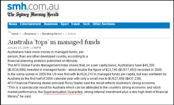 Australia 'tops' in managed funds