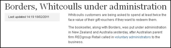 Borders, Whitcoulls under administration