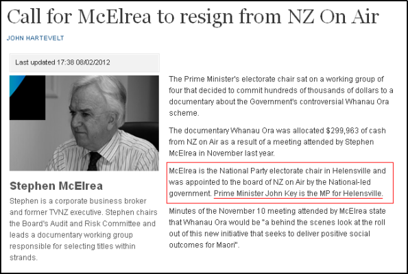 Call for McElrea to resign from NZ On Air
