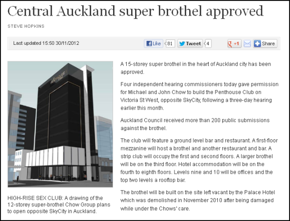 Central Auckland super brothel approved