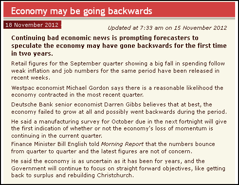 Economy may be going backwards