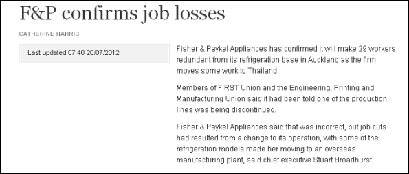 F&P confirms job losses
