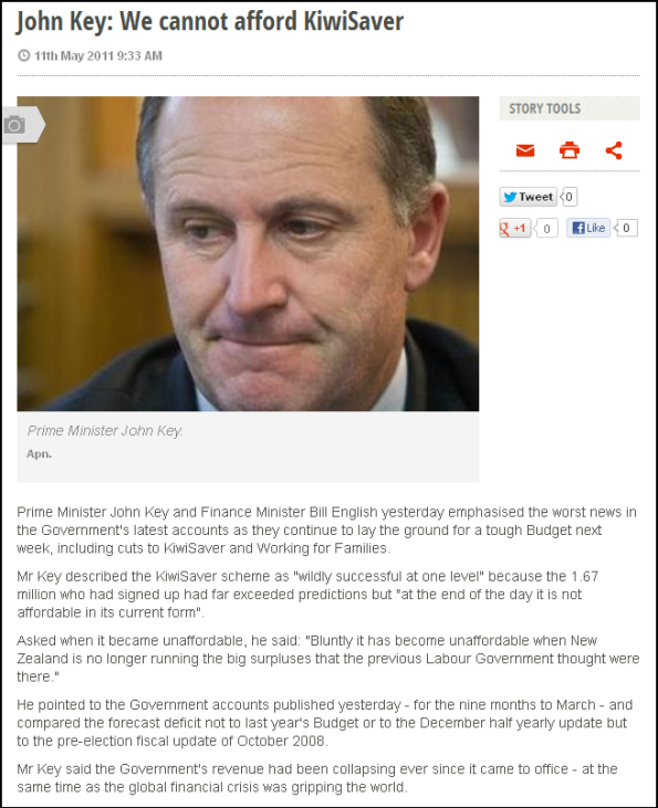 John Key - We cannot afford KiwiSaver
