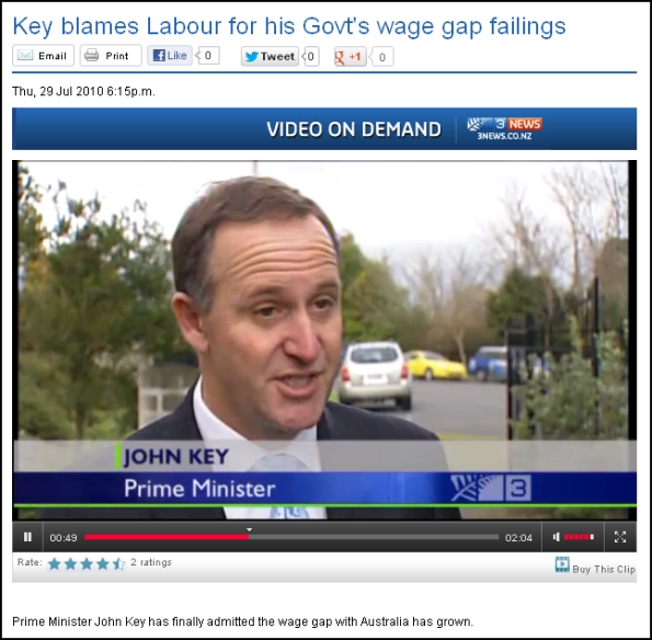 Key blames Labour for his Govt's wage gap failings