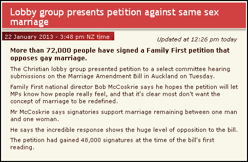 Lobby group presents petition against same sex marriage