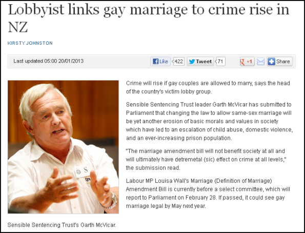 Lobbyist links gay marriage to crime rise in NZ
