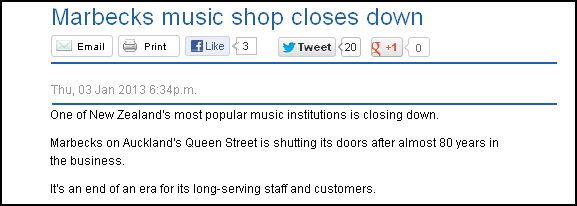 Marbecks music shop closes down