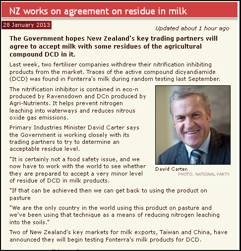 NZ works on agreement on residue in milk