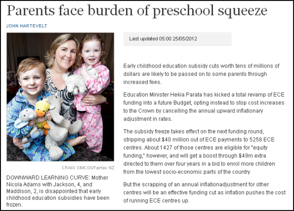 Parents face burden of preschool squeeze
