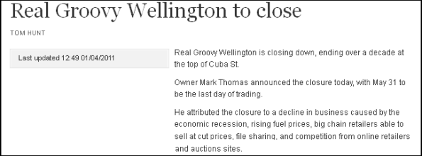 Real Groovy Wellington to close