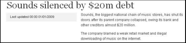 Sounds silenced by $20m debt