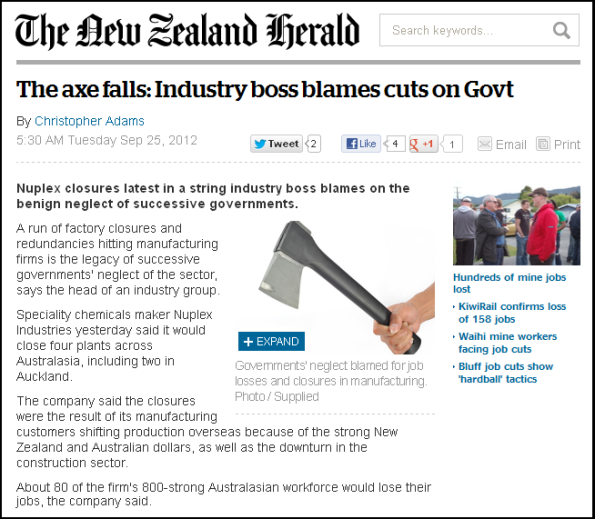 The axe falls - Industry boss blames cuts on Govt