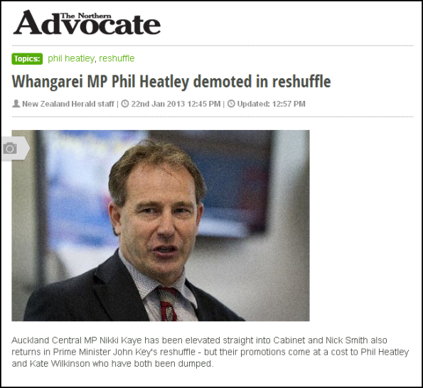 Whangarei MP Phil Heatley demoted in reshuffle