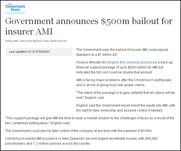 Government announces $500m bailout for insurer AMI
