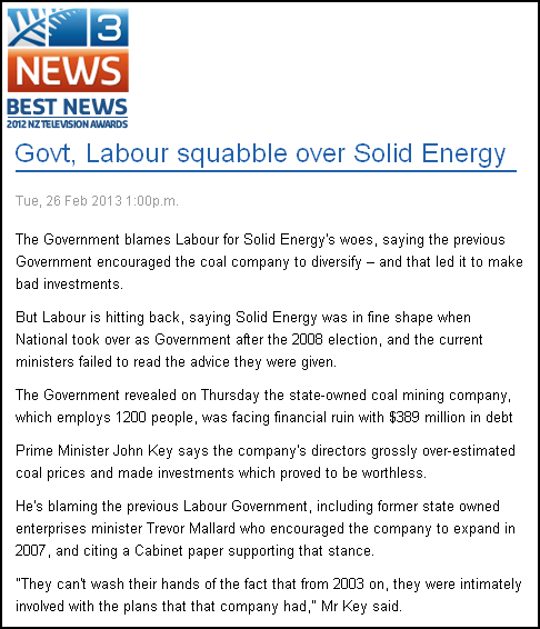 Govt, Labour squabble over Solid Energy