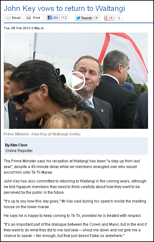 John Key vows to return to Waitangi