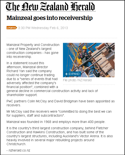 Mainzeal goes into receivership - nz herald