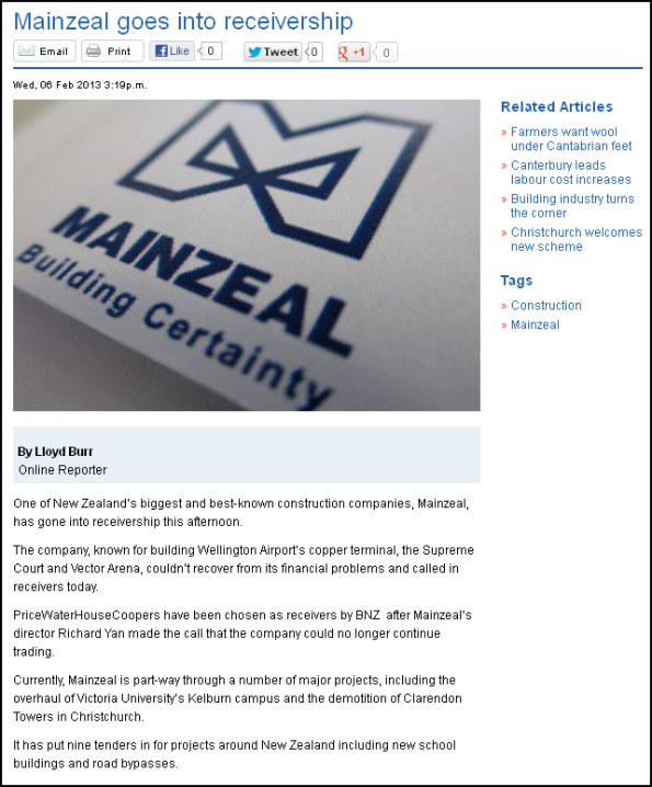 Mainzeal goes into receivership