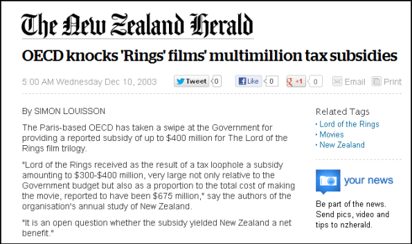 OECD knocks 'Rings' films' multimillion tax subsidies