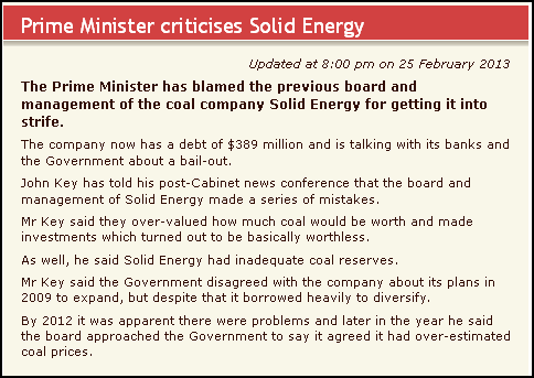 Prime Minister criticises Solid Energy